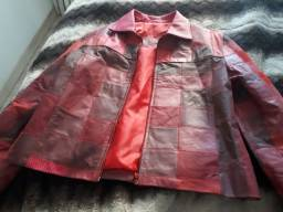 Jaqueta couro patchwork