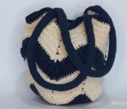 Bolsa De Croche Bag Barbante Cru E Detalhes Marinho