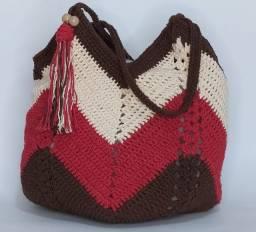 Bolsa De Croche Bag Barbante Cru E Detalhes