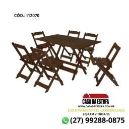 Título do anúncio: Conjunto Bar 120 x 70 - Mesa e 4 Cadeiras da Maplan - Cor Imbuia