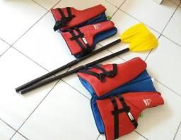 Kit com 02 coletes salva-vidas + 02 remos