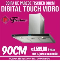 Coifa de Parede Fischer 90cm Digital Touch Vidro Preto