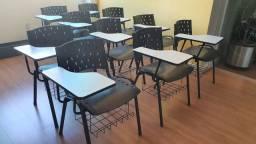 KIT 10 Cadeiras Universitárias preta com prancheta e porta livros