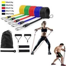extensor elástico fitness 11 peças treino funcional  academia