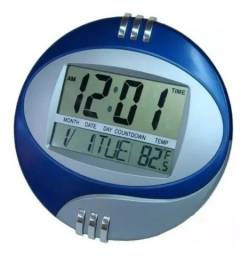 Relógio De Mesa E Parede Digital Data Hora Temperatura