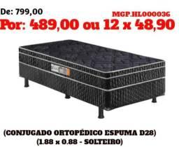 Conjugado Ortoepdico de Espuma D28 de Solteiro-Cama Box- Cama
