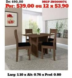 Conjunto de Mesa de 4 Cadeira-Mesa de Jantar - Cozinha-Saldão em MS