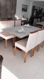Mesa 6 lugares madeira promoção fecha mês