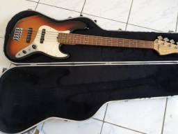 Contra Baixo 5 Cordas Fender Jazz Bass Standard J Bass Sunburst com o Case