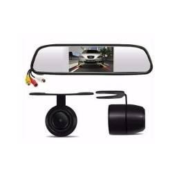 Kit Espelho Retrovisor Monitor Tela 4.3+câmera Ré