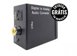 Adaptador conversor de áudio ótico para analógico rca - entrega grátis