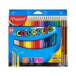Lapis Maped Colorpeps 24 Cores com 3 Lápis de brinde