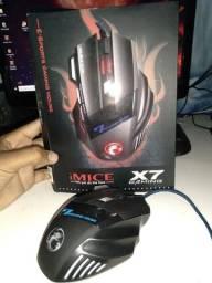 Mouse Gamer Laser X7 2400dpi Led Usb 7 Botões Profissional
