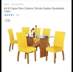 Kit 6 capas para cadeiras (Cinza)
