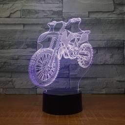 Motocross decoração 3d led. usb 7 cores mudando sensor lâmpada