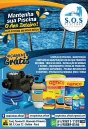 Manutenção de piscinas e produtos para tratamento.