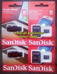 Pen driver e cartão de memória 16gb Sandisk