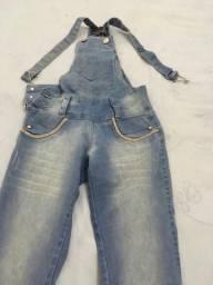 Macacão jeans comprido com strass