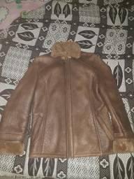 Jaqueta de couro forrada cm pele importada
