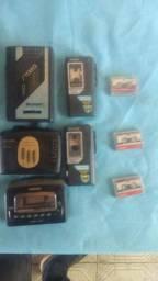 Walkman e mini gravador antigos