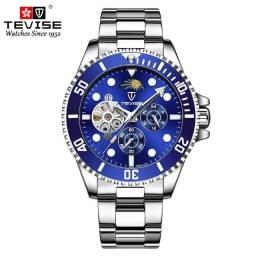 Relógio Tevise Automático Mecânico Inox 801 Original Azul