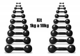 Halter Bola Emborrachado Par de 1 kg a 10 kg + Suporte