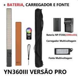 Novo iluminador led yongnuo yn360iii pro + fonte + bateria + carregador