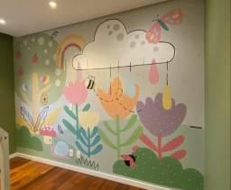 Papel de parede Infantil Pintura leia o anuncio
