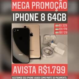 iPhone 8 64gb, somos loja, aceitamos seu iPhone usado como parte do pagamento.
