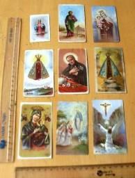 Colecionáveis Antigos - Lote 9 Santinhos Religiosos Antigos Década 60 Raro