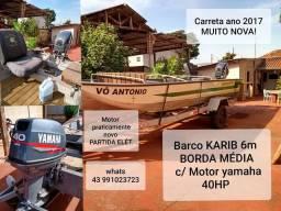 BARCO KARIB MOTOR YAMAHA 40HP CARRETA