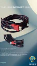 Cabo HDMI 5M Full HD 3D 4K PC Xbox PS4 Gamer Monitor TV