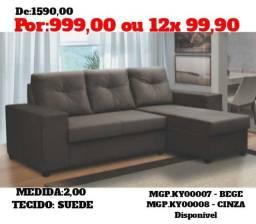 Sofa 2,00 em Suede - Sofa Barato- Sofa Lindissimo - Super Promoção em MS