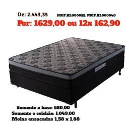 Título do anúncio: Saldão em MS- Conjunto Box Mola Ensacada Queen 1,58-Cama Casal Queen- Colchões+Base