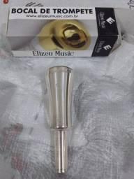 Bocal de Trompete Elizeu Musica 1cw prata super novo na caixa