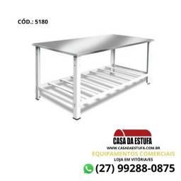 Título do anúncio: Mesa 1,80x0,70 Tampo Inox 430 - Panificadora com Porta Panela em Grade