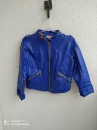 Jaqueta de couro sintético azul P