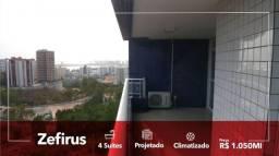 Zefirus - apartamento com 4 suítes + closet _móveis projetados e porcelanato/em andar alto