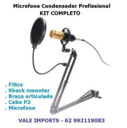 Microfone Condensador Profissional , kit completo
