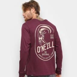 Camiseta O'Neill Floyd Manga Longa Masculina - Vinho (Nova)