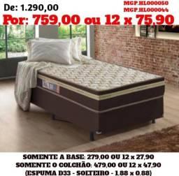Conjunto Box de Espuma D33- Cama Box- Cama- Colchão Base- MS