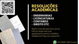 Resolvo lista de exercícios de Biologia, Química e Inglês