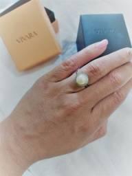 Anel Ouro Branco Perola e Diamantes Vivara