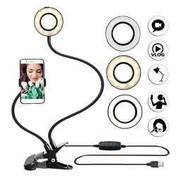 Selfie Ring Light Mesa Flexível Live Pro Com Suporte Celular