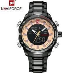 Relógio Naviforce Aço Inox Original Esportivo Casual Masculino Digital Analógico