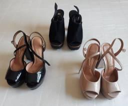 3pares de sandálias pouquíssimo uso. 2ou3vezes...,por $160