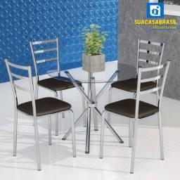 Conjunto de Mesa de Cozinha com Tampo de Vidro ( NOVO )