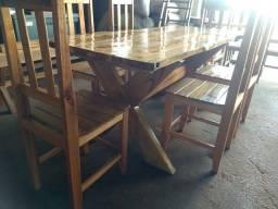 Título do anúncio: Mesa rústica com 6 cadeiras