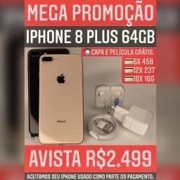 iPhone 8 Plus 64gb, somos loja, aceitamos seu iPhone usado como parte do pagamento.