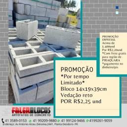 Bloco de concreto vedação 14X19X39